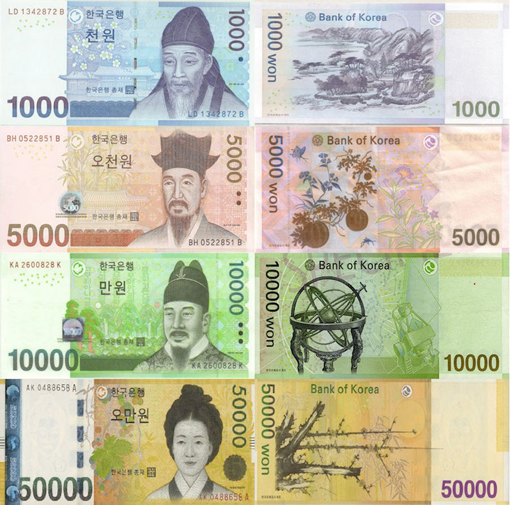 Korean Won banknotes